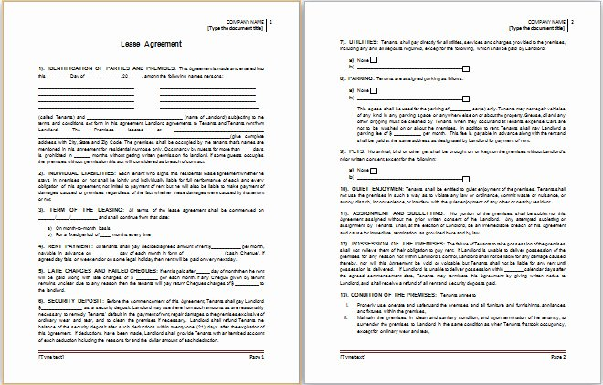 Lease Agreement Template Word Doc Templates Resume