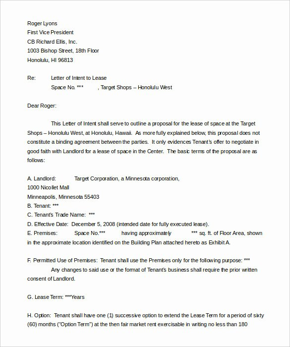 Lease Letter Intent Sample Templates Resume