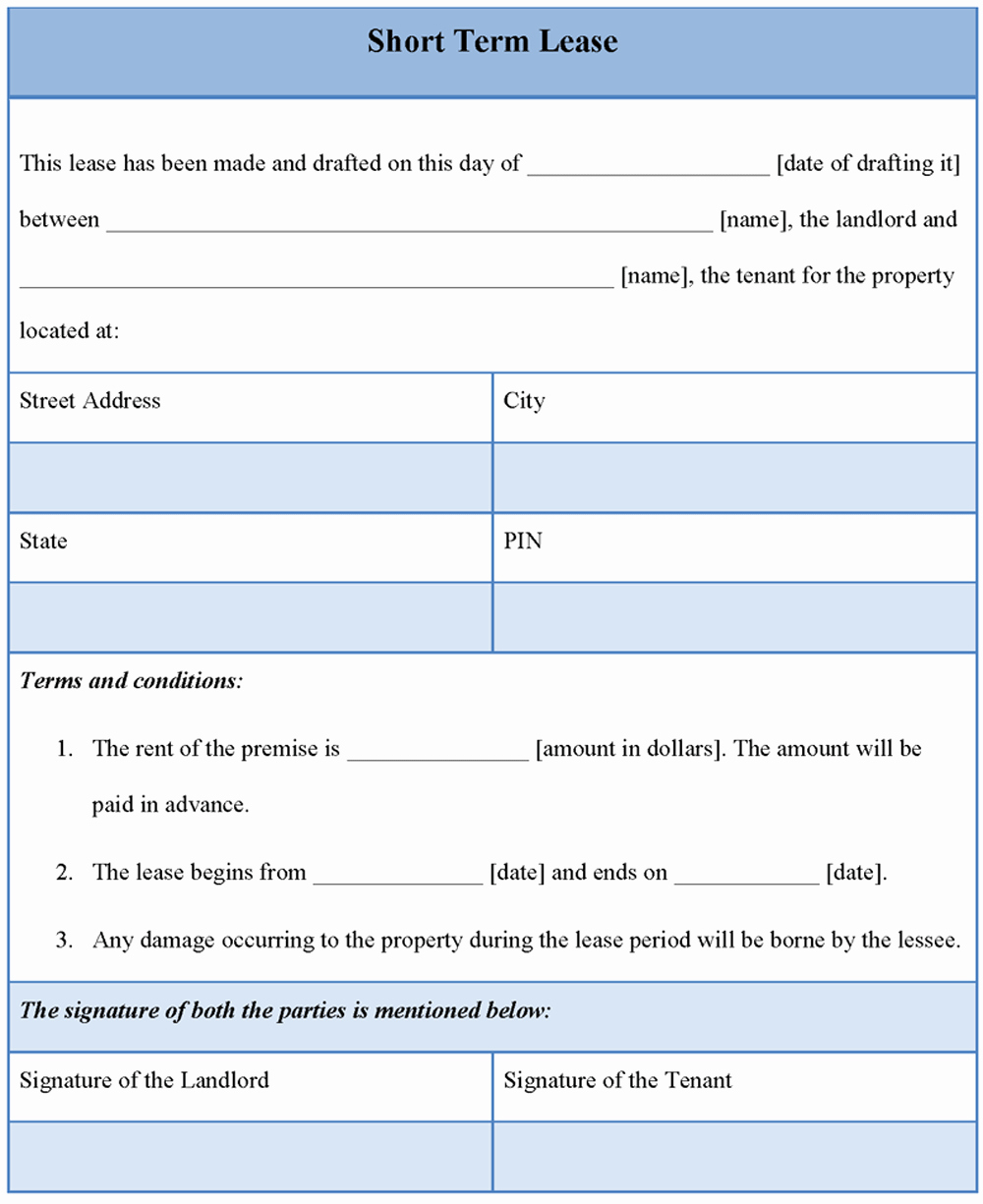Lease Template for Short Term format Of Short Term Lease