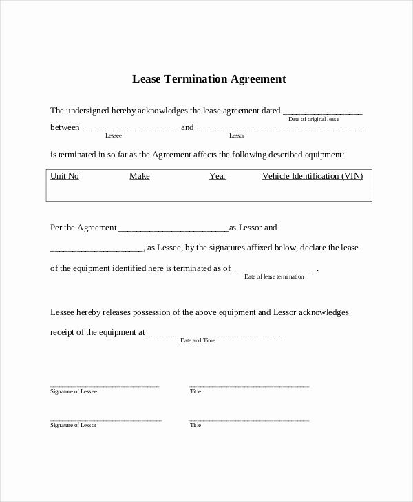 Lease Termination form 10 Free Documents In Pdf Doc