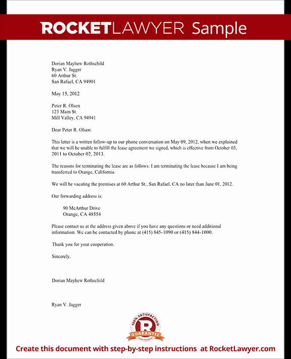 Lease Termination Letter form Tenant Notice to Vacate Letter