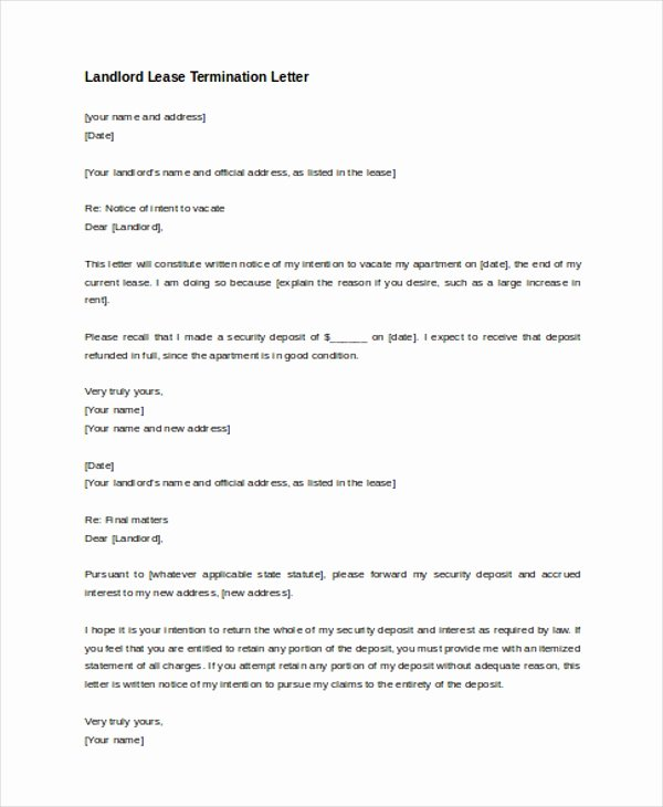 Lease Termination Letter Sample to Landlord 30 Day Lease