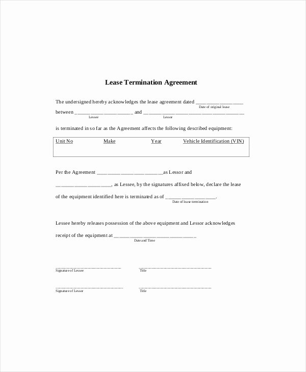 Lease Termination Template 5 Free Word Pdf Documents