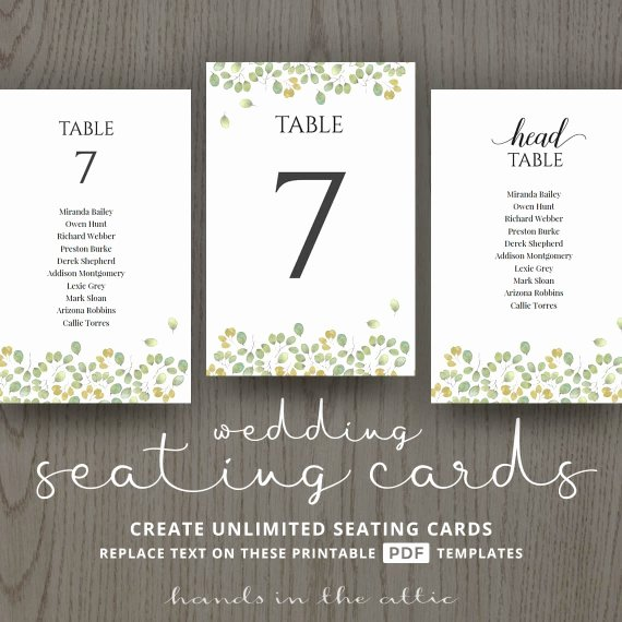 Leaves Wedding Table Name Cards Guest List Printable Number