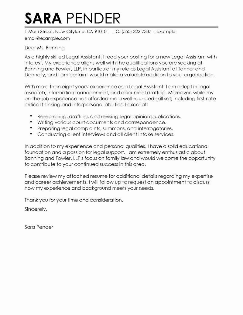 Legal assistant Cover Letter Examples