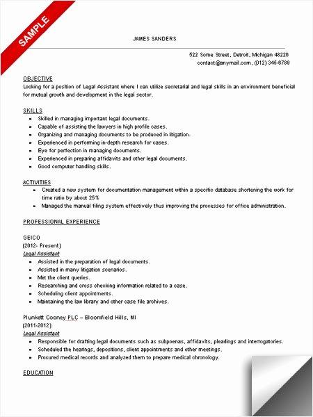 Legal assistant Resume Sample Limeresumes