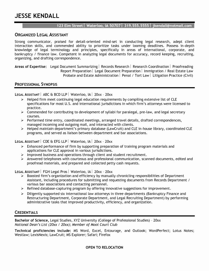 Legal assistant Resume