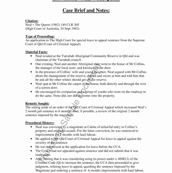 Legal Brief Sample format