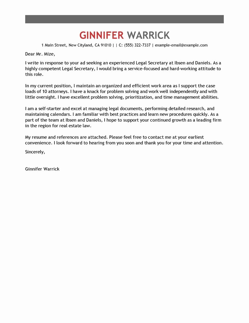 Legal Secretary Cover Letter Sample – Perfect Resume format