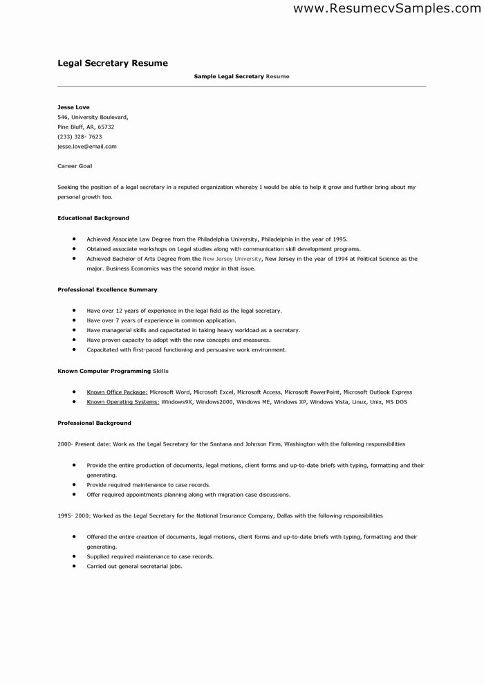 Legal Secretary Resume Examples Oursearchworld