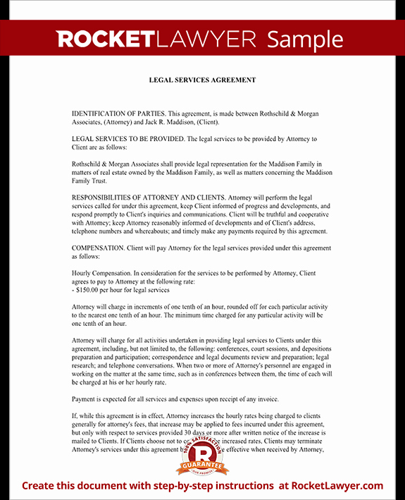 Legal Services Agreement Contract form with Sample