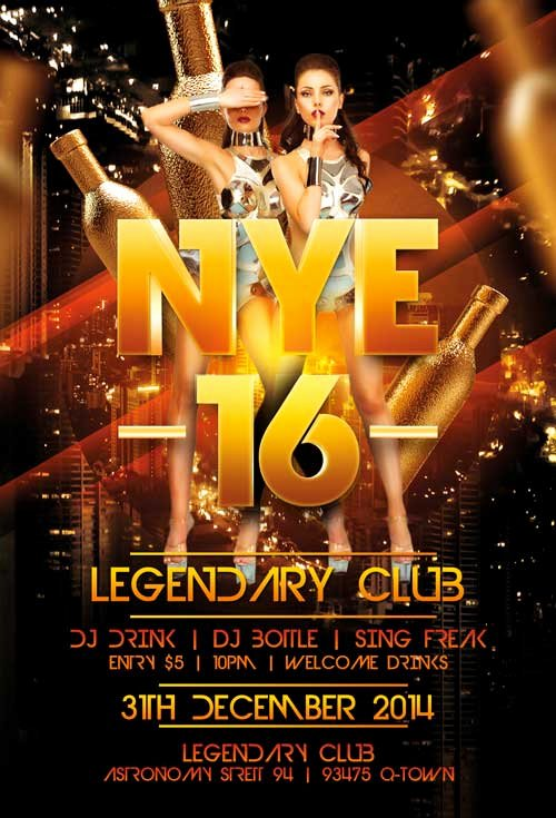 Legendary New Years Eve Free Flyer Template Download for