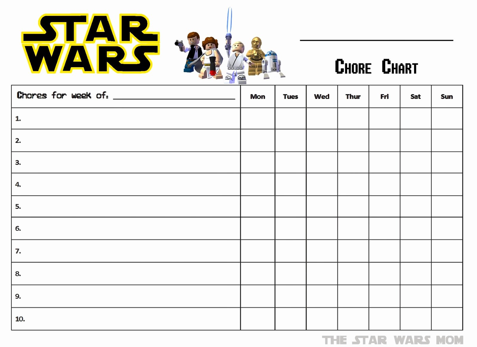 Lego Star Wars Free Printable Chores Chart the Star