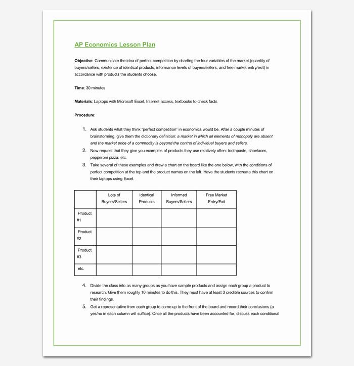 Lesson Plan Outline Template 23 Examples formats and