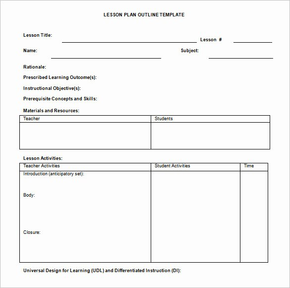 Lesson Plan Outline Template 8 Free Free Word Pdf