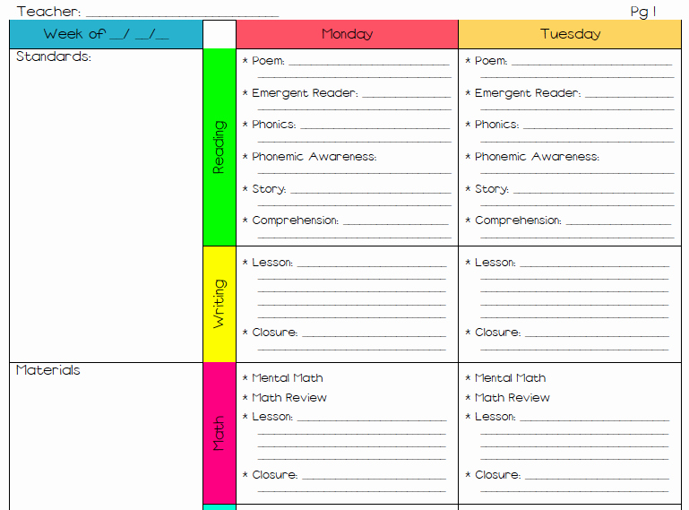 Lesson Plan Template for Elementary School 1000 Ideas