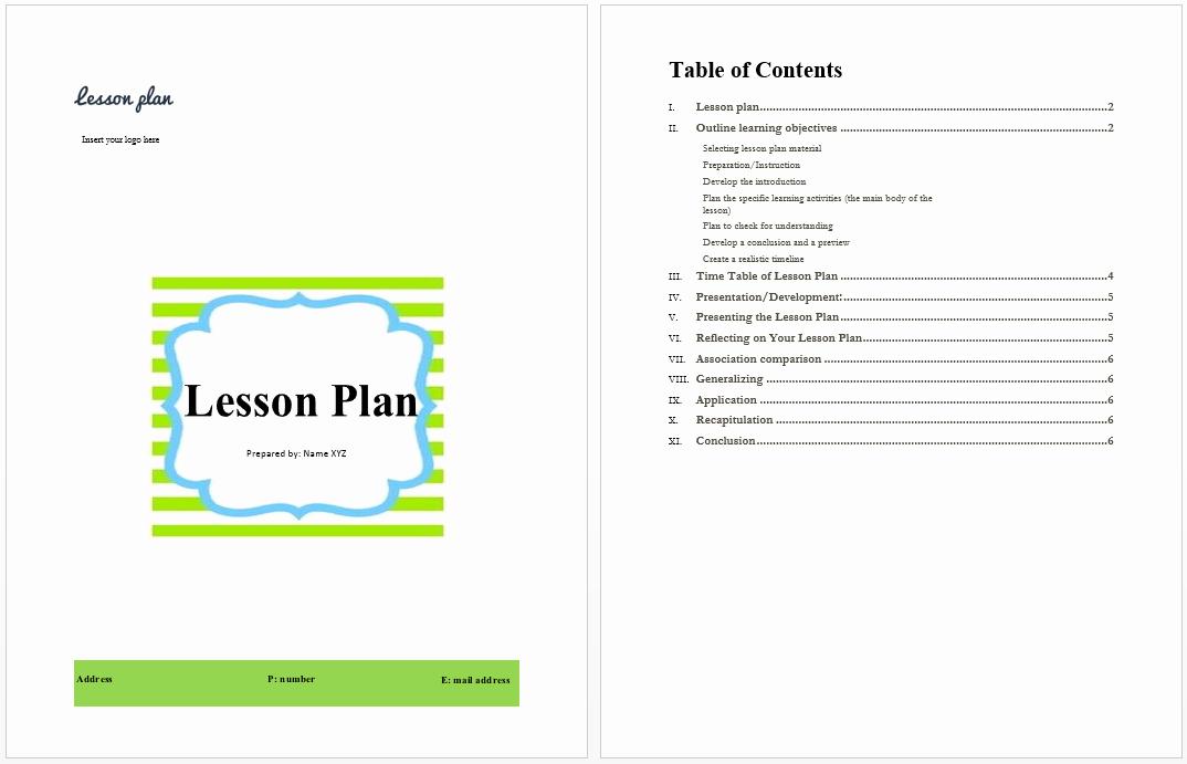 Lesson Plan Template Microsoft Word Templates