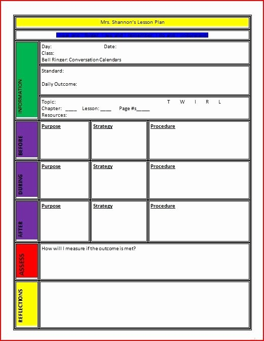 Lesson Plan Template Word Beepmunk