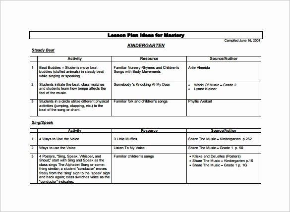 Lesson Plan Templates for Kindergarten Invitation Template