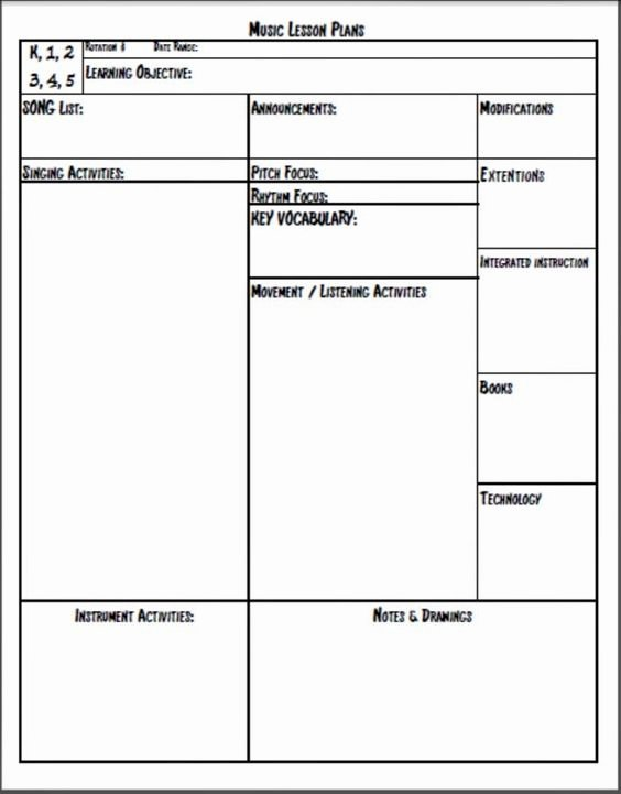 Lesson Plan Templates Music Lesson Plans and Music