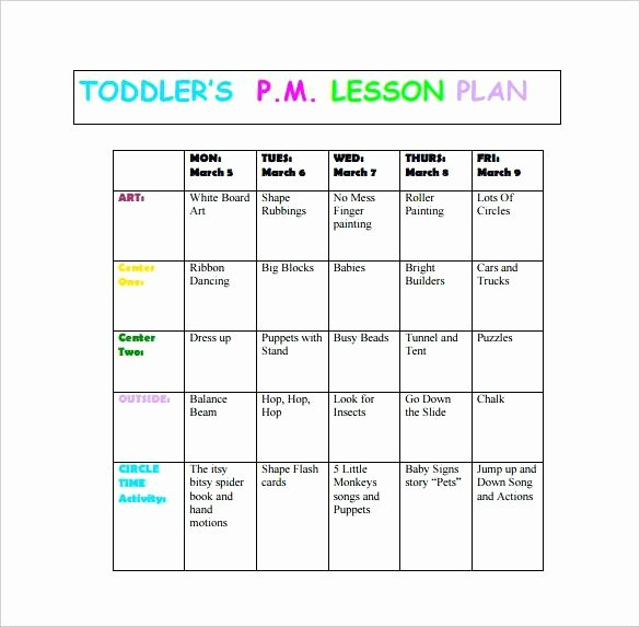 Lesson toddler Curriculum Template Creative Infant Plan
