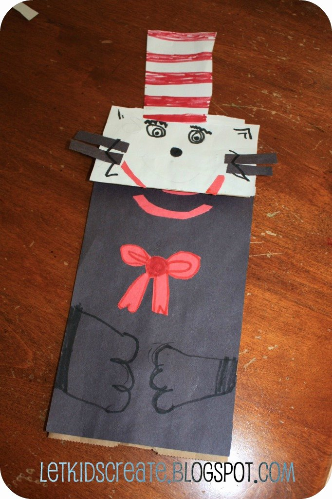 Let Kids Create Cat In the Hat Paper Bag Puppet