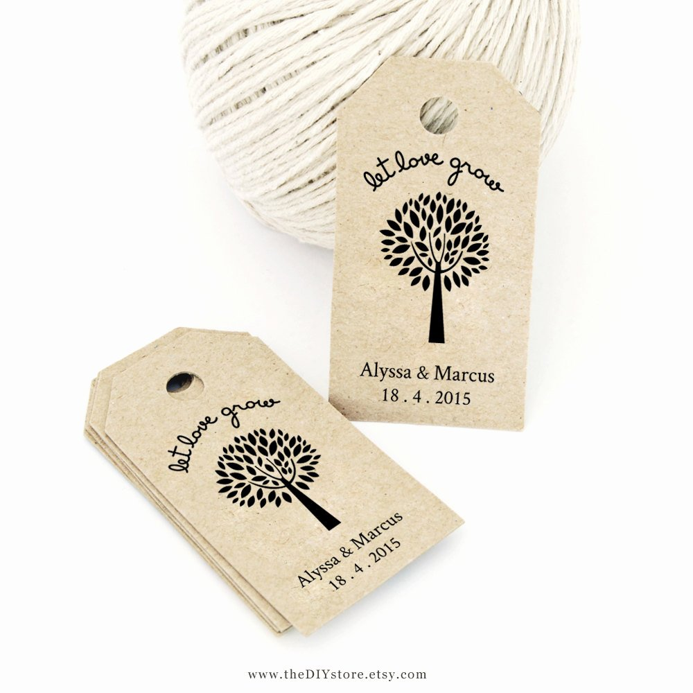Let Love Grow Favor Tag Template Medium Wedding Tag by
