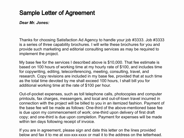 Letter Agreement Sample Free Printable Documents