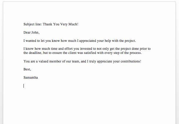 Letter Appreciation for Good Work