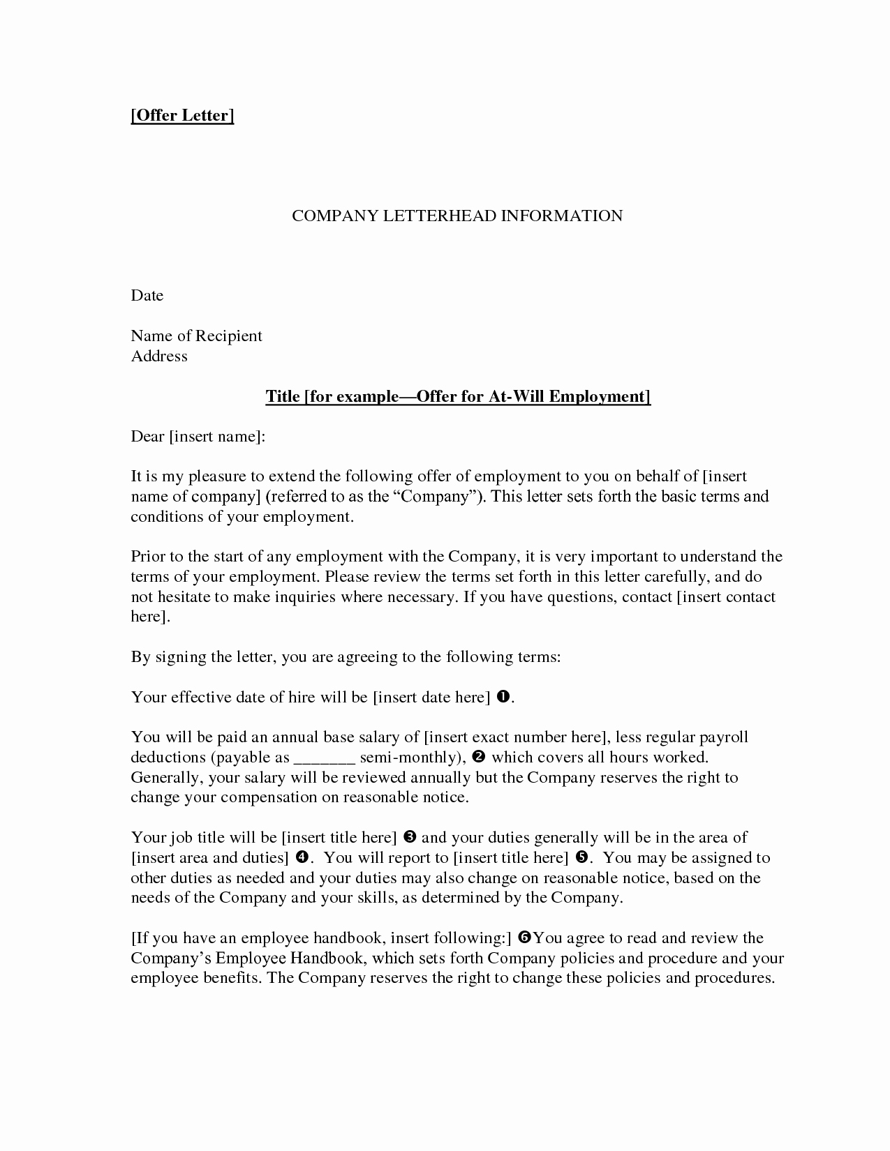 letter of employment offer 4014