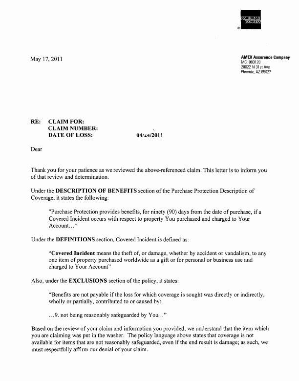Letter Explaining Denial Insurance Claim Templates