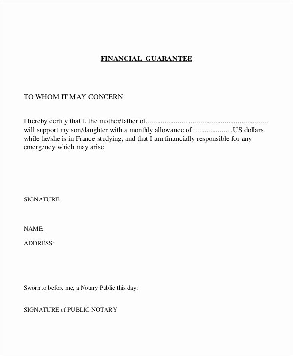 Letter Financial Support From Parent Pany Template