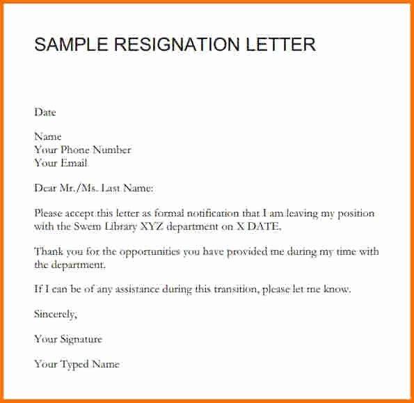 Letter format for Resignation Sample Resignation Letter