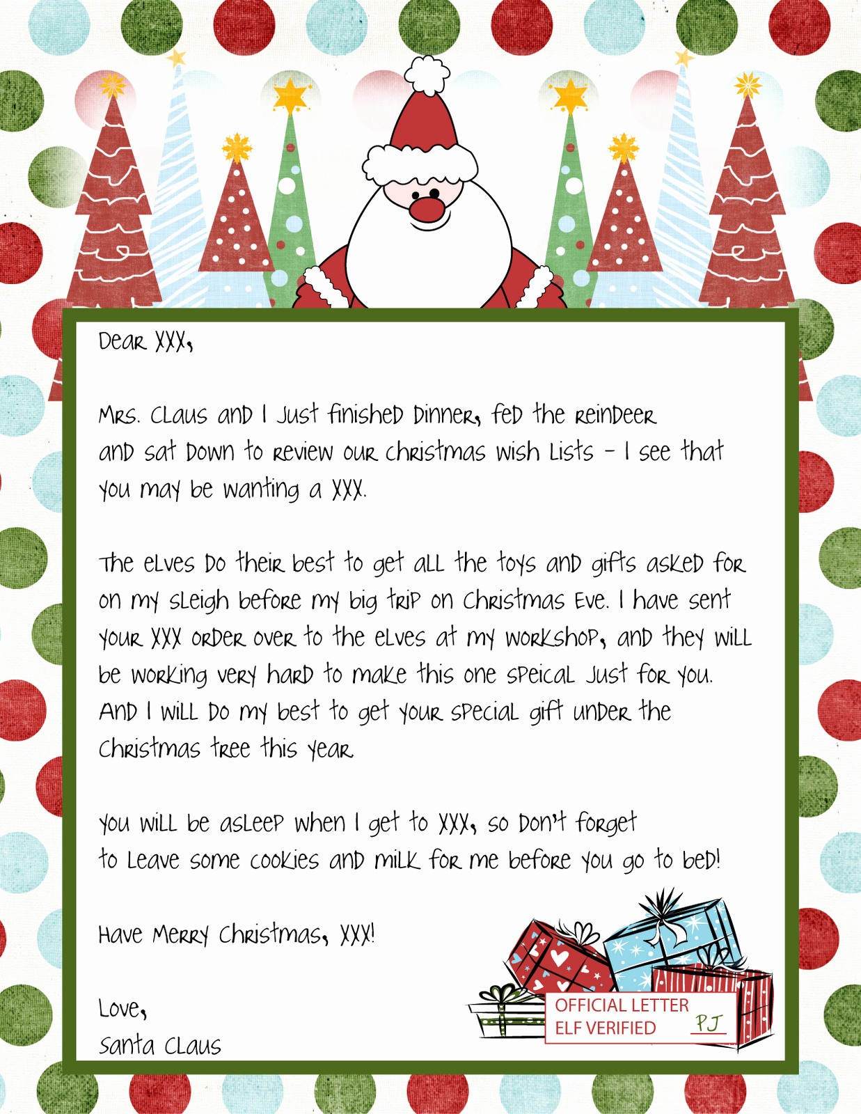 Letter From Santa Template Free