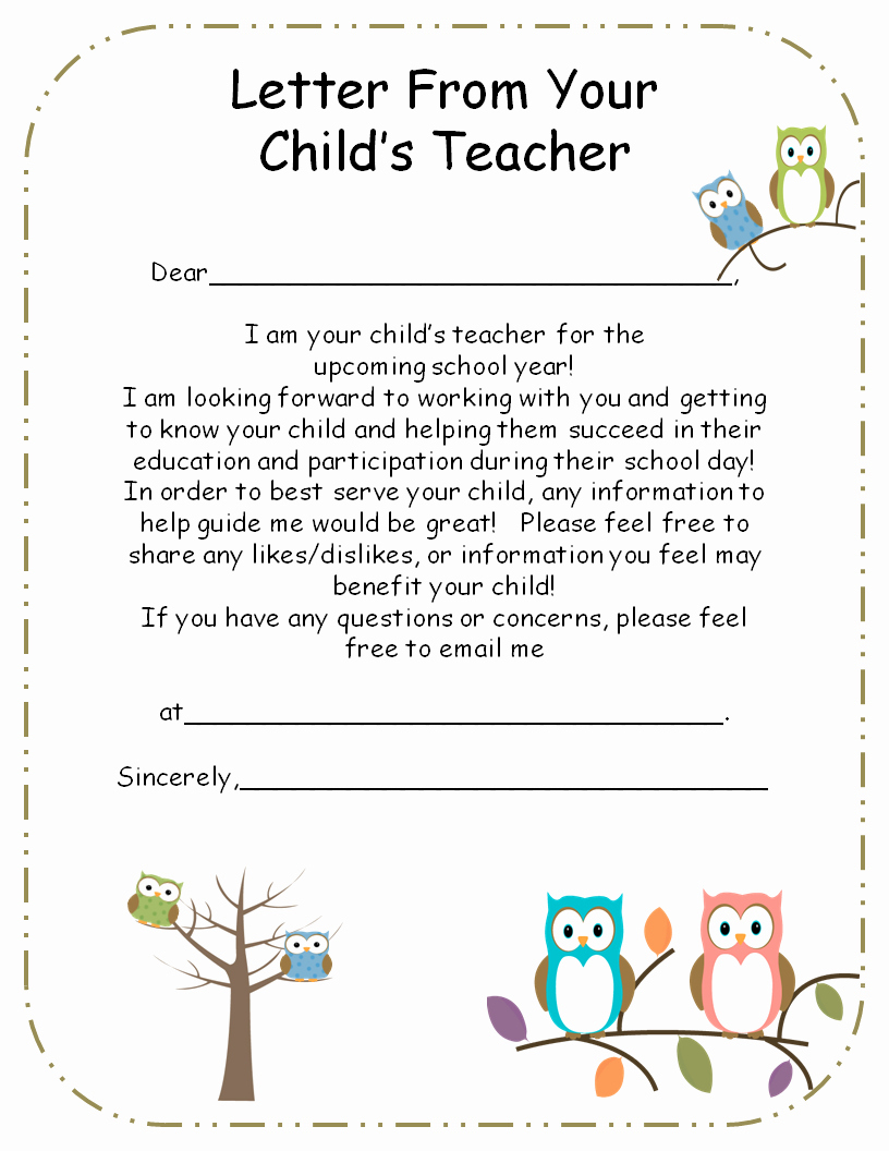 Letter From Teacher to Parents Editable