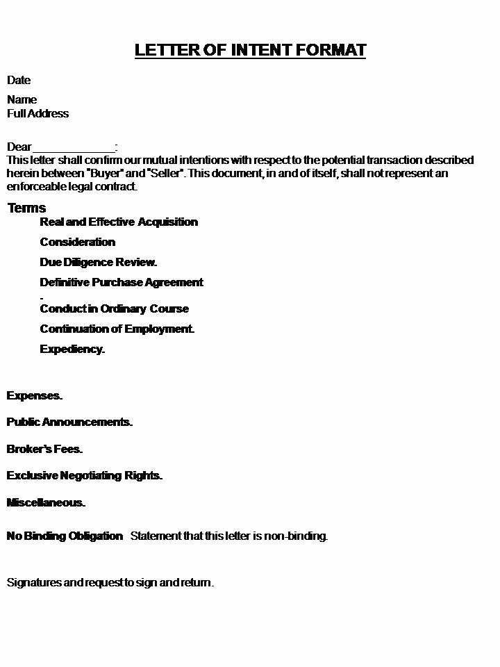 Letter Intent Template