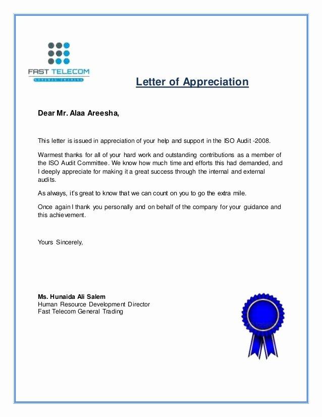 Letter Of Appreciation Alaa areesha