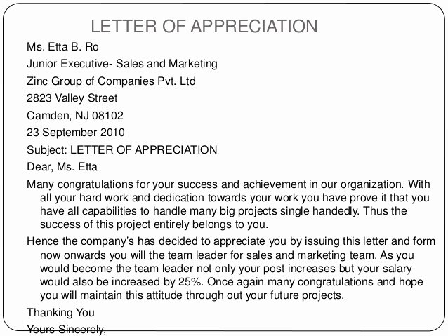 Letter Of Appreciation to Employee Sample & Templates