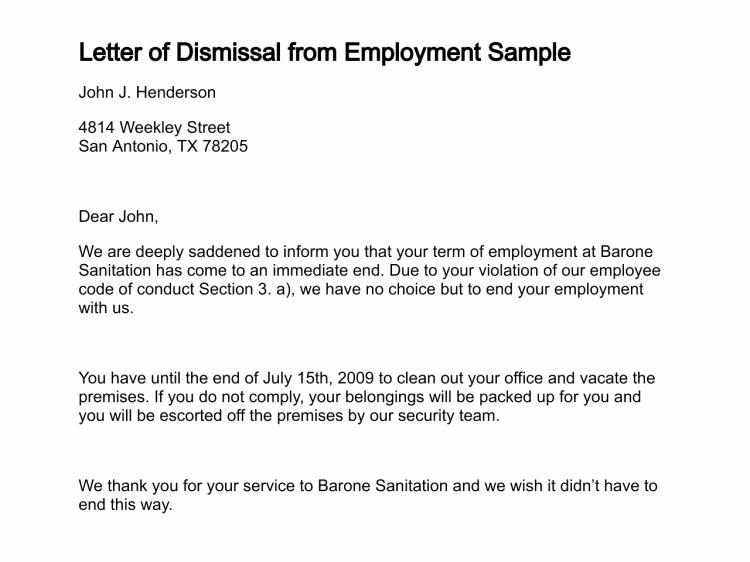 Letter Of Dismissal