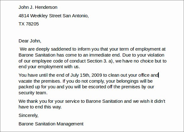 Letter Of Employment Separation