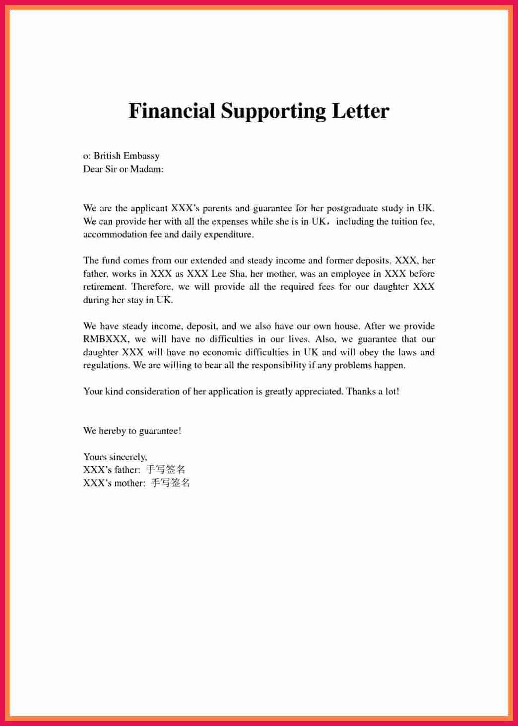Letter Of Financial Support