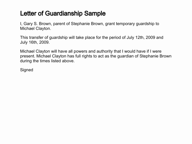 Letter Of Guardianship