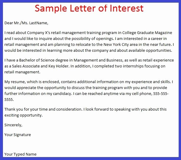 Letter Of Interest – Letter format Writing