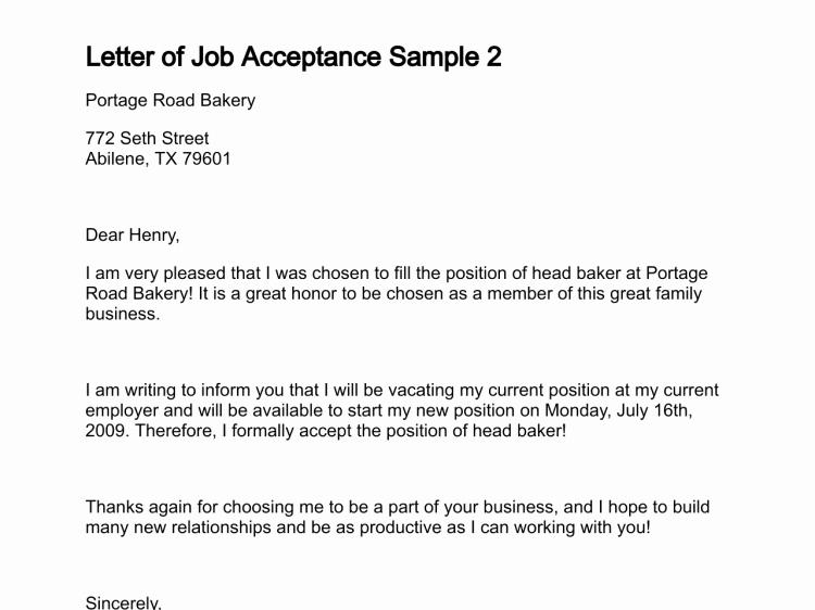 Letter Of Job Acceptance