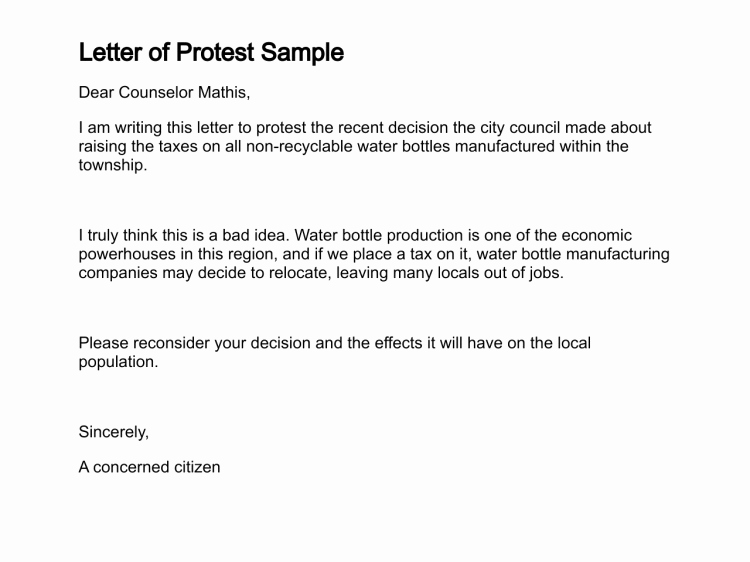 Letter Of Protest