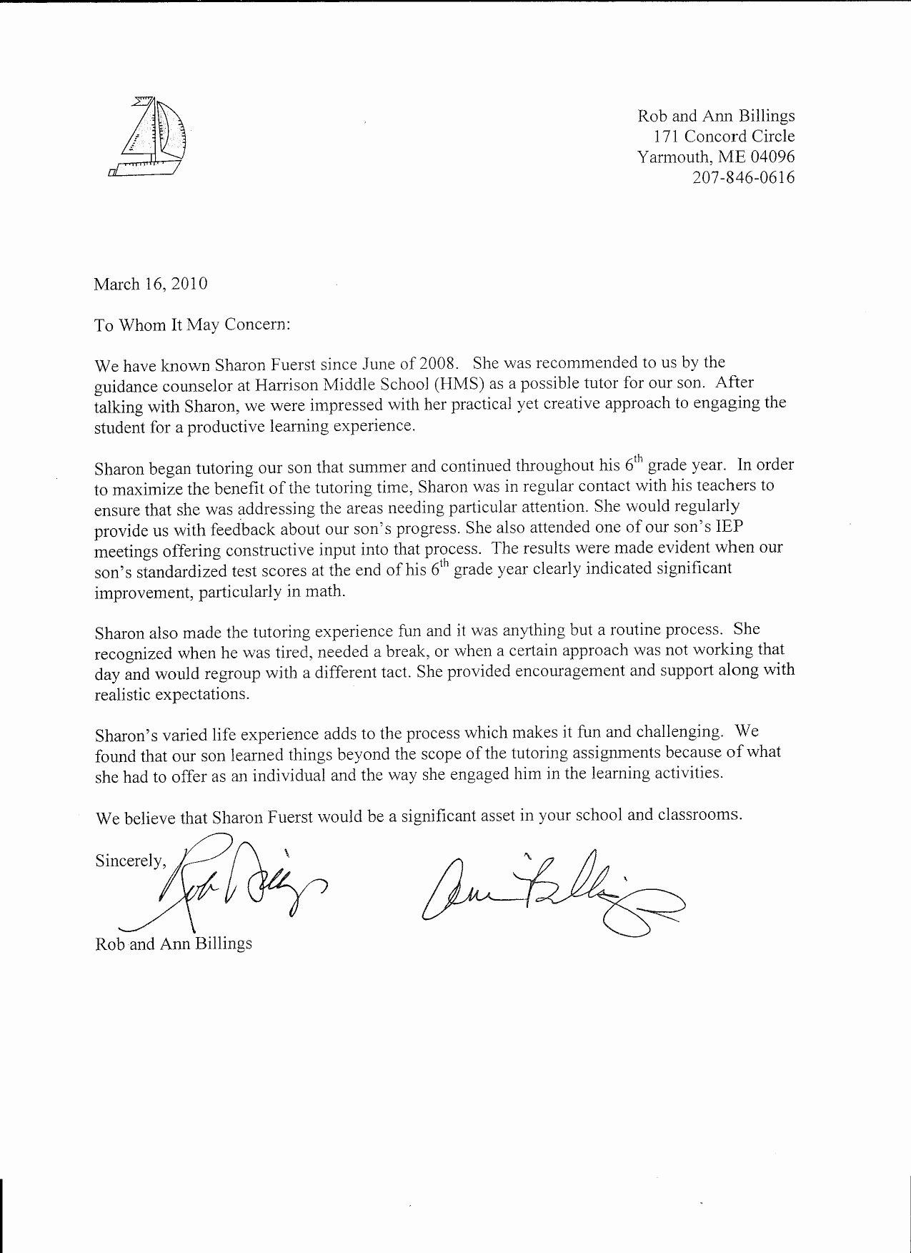 Letter Of Re Mendation format