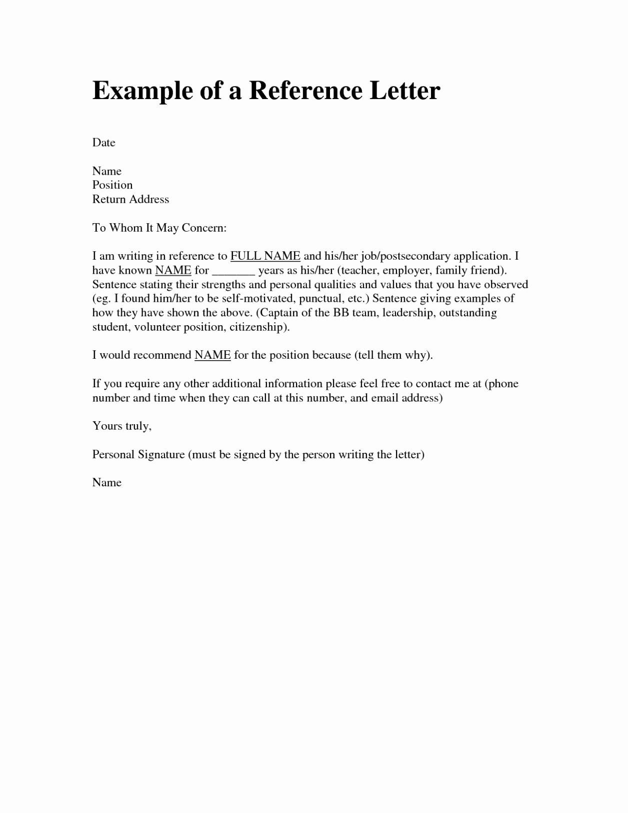 Letter Of Re Mendation format Sample Template