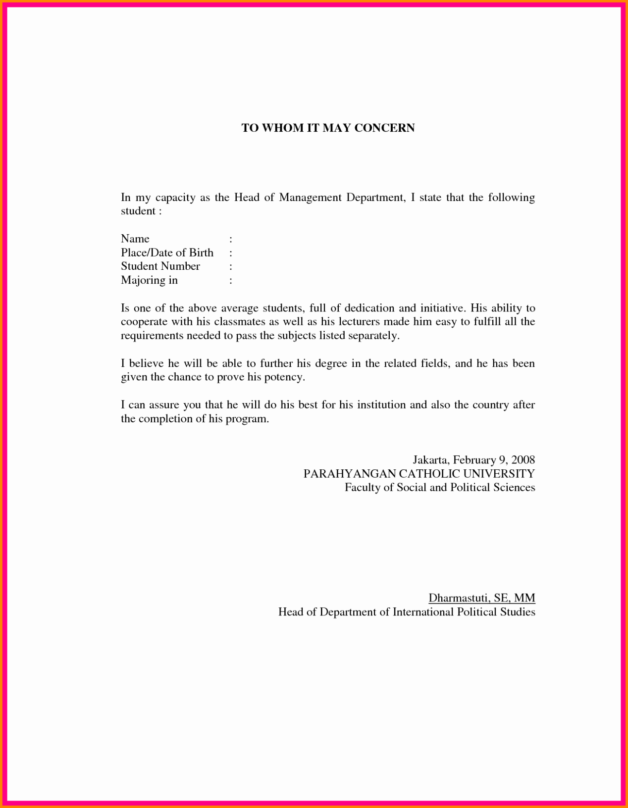 Letter Of Re Mendation format Sample Template
