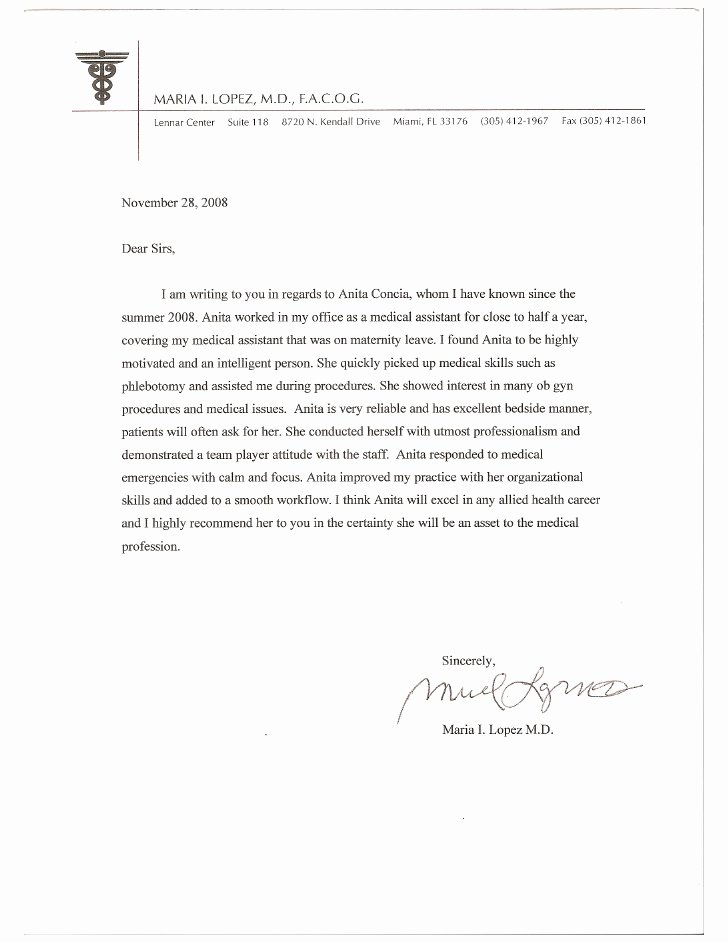 Letter Of Re Mendation From Dr Lopez