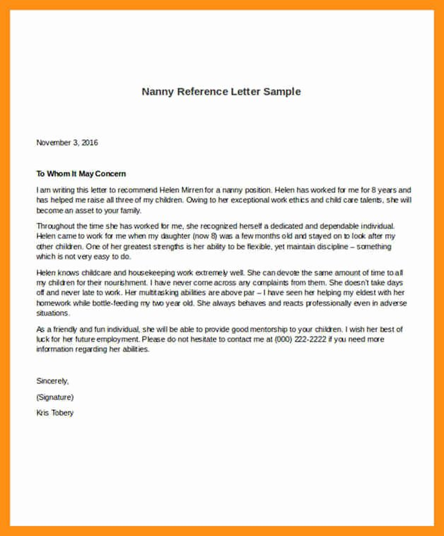 Letter Of Re Mendation Nanny